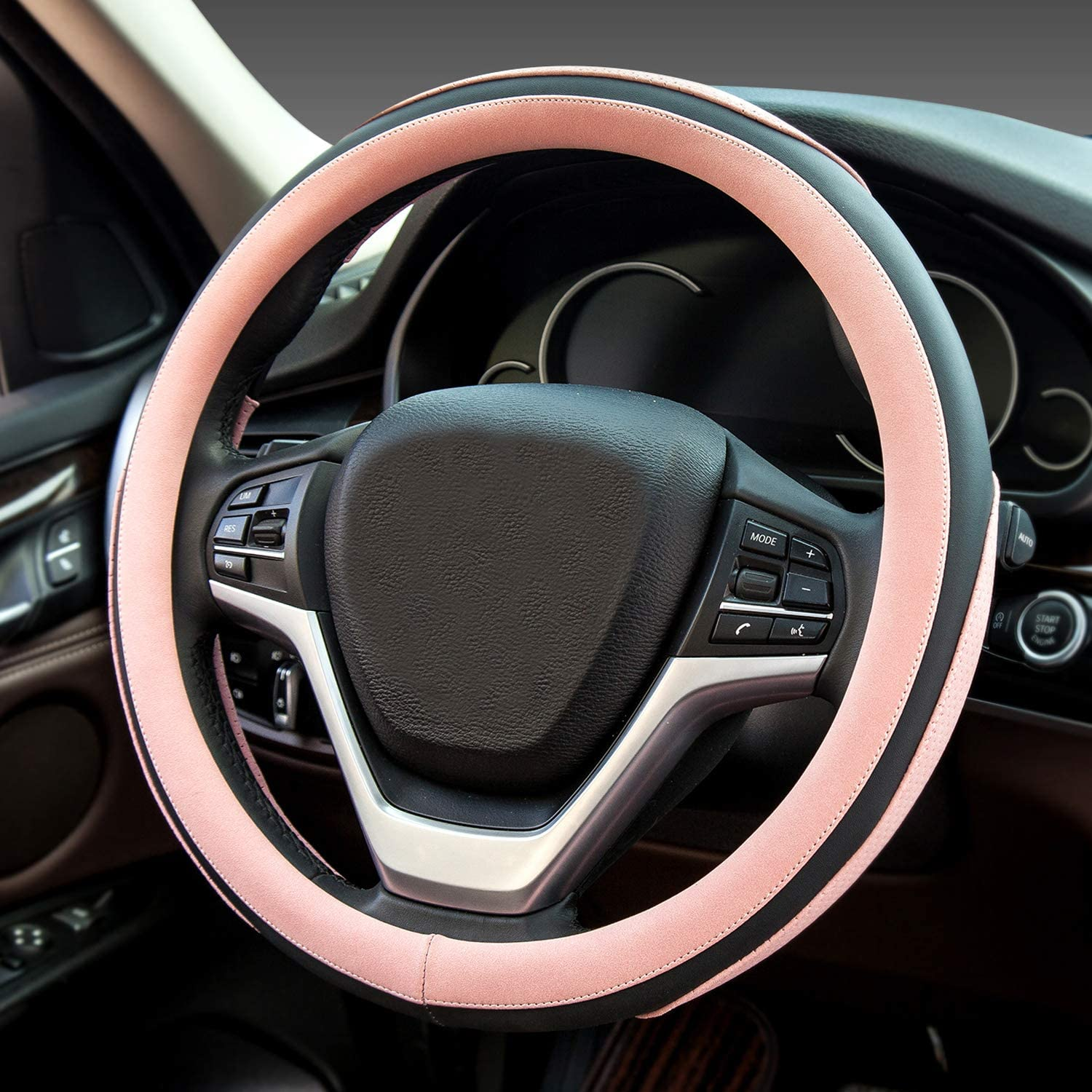 Didida Steering Wheel Covers Soft Matte Microfiber Leather Non-Slip Sweat-Absorbent for Women Men Universal 15 Inch Car Decoration (Pink)