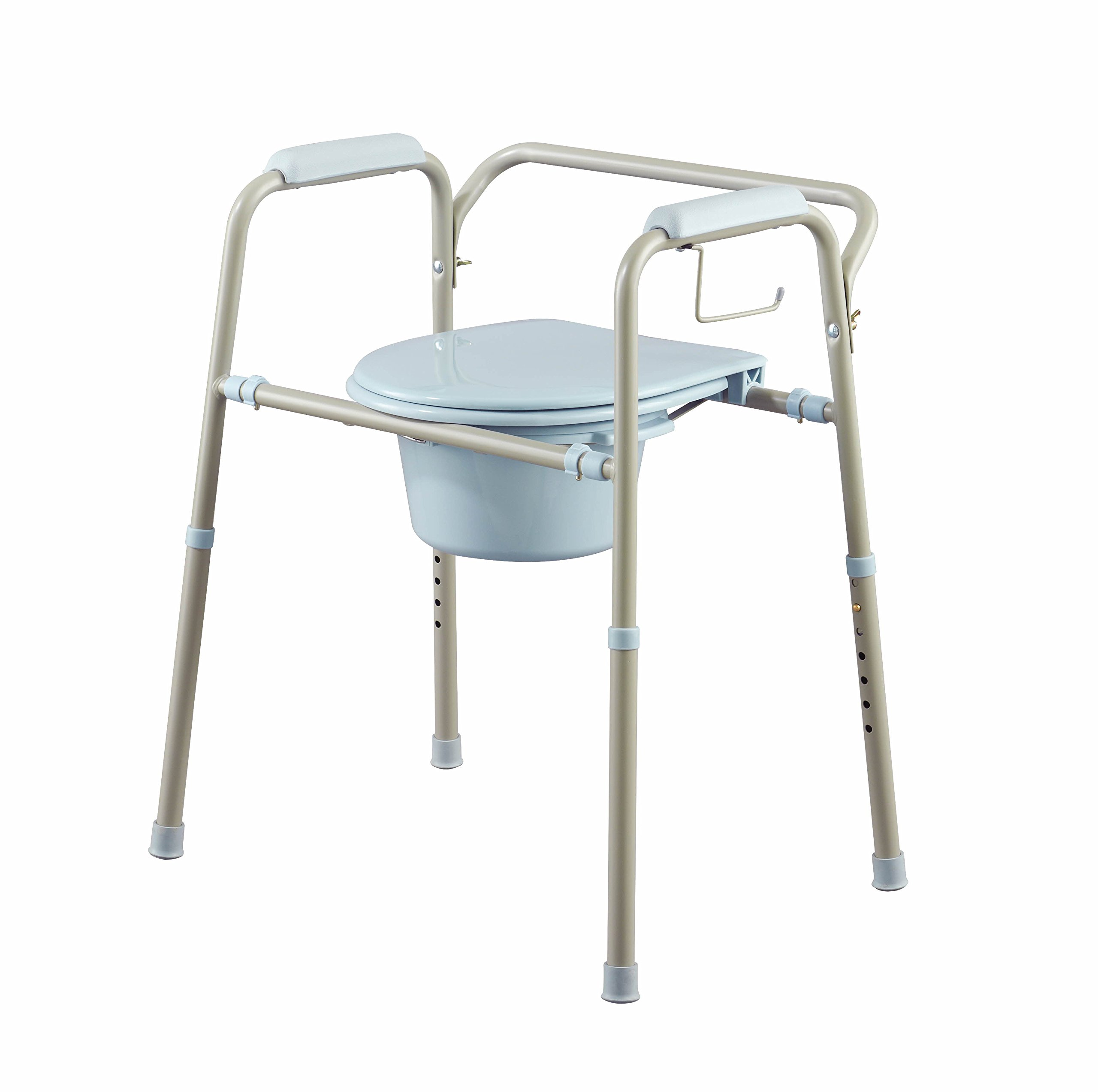 Medline MDS89664KDMB 3-in-1 Steel Bedside Microban Antimicrobial Protection Commode, Light Grey with Blue Accent