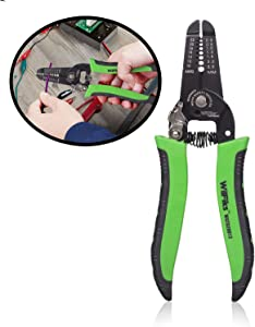 WilFiks 3 In 1 Wire Stripper, Professional Tool For Stripping, Cutting And Crimping 10-22 AWG Stranded Wires, Cable Cutter And Crimper, Plier For Copper And Aluminum Wires, Ergonomic Non-Slip Handle