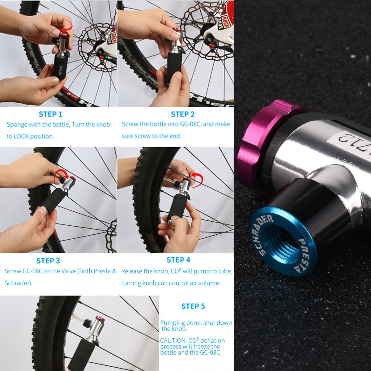 4x 16g CO2 Inflator,Bicycle Tire Pump for Road and Mountain Bikes,CO2 Inflator