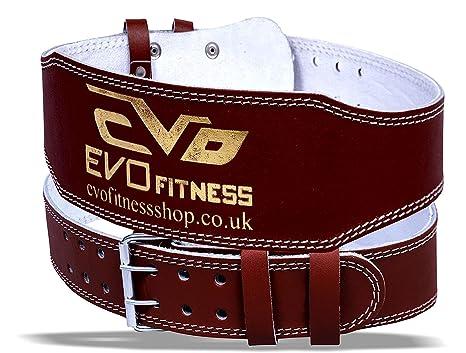 EVO Cinturón de Gimnasia de Piel Genuina 15cm para Levantamiento de Pesas Faja de Espalda para