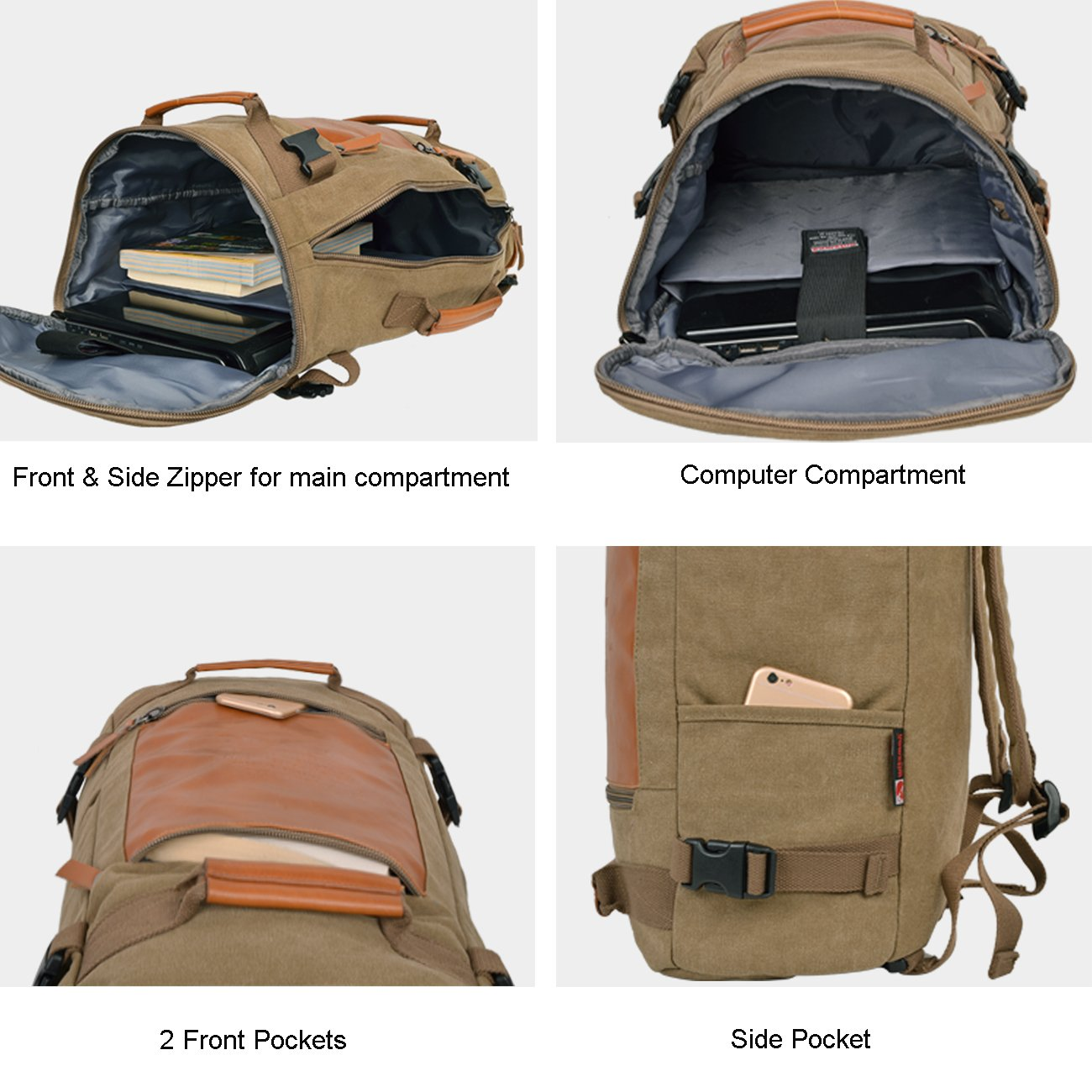 WITZMAN Men Vintage Canvas Rucksack Travel Duffel Backpack Retro Hiking Bag 2033 (19 inch Green) by WITZMAN (Image #6)