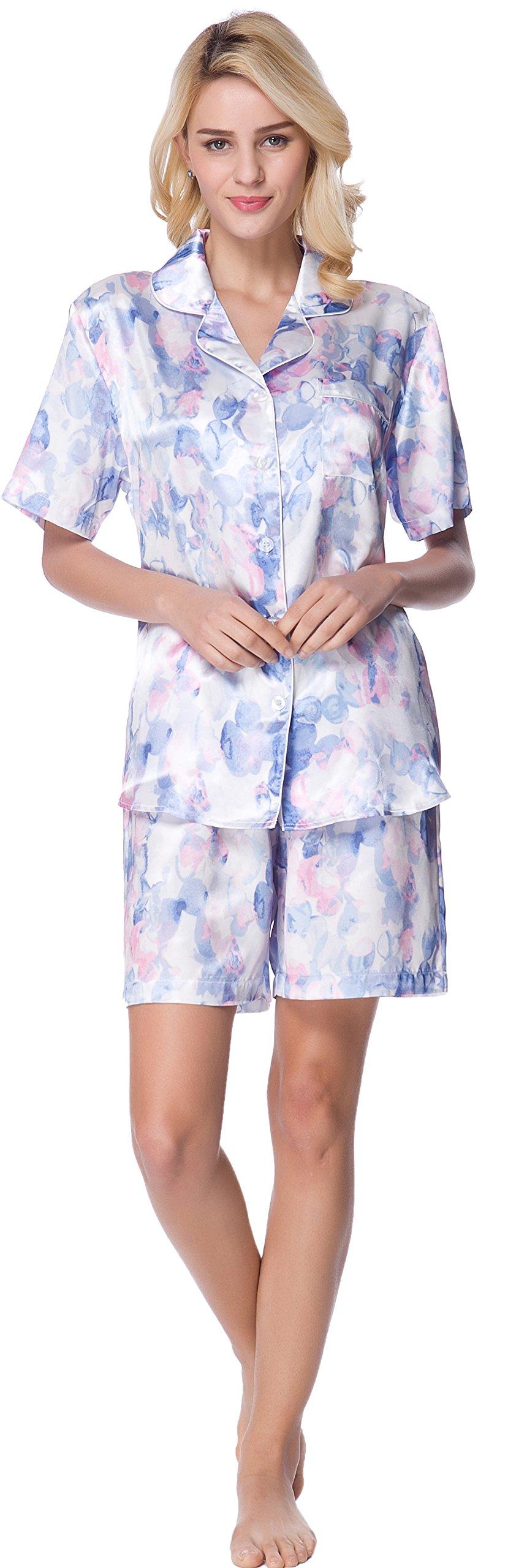 Women's Short Sleeve Classical Silky Satin Pajamas, Short Bottom Down Woven PJ Set (Small, Blue Floral Print)