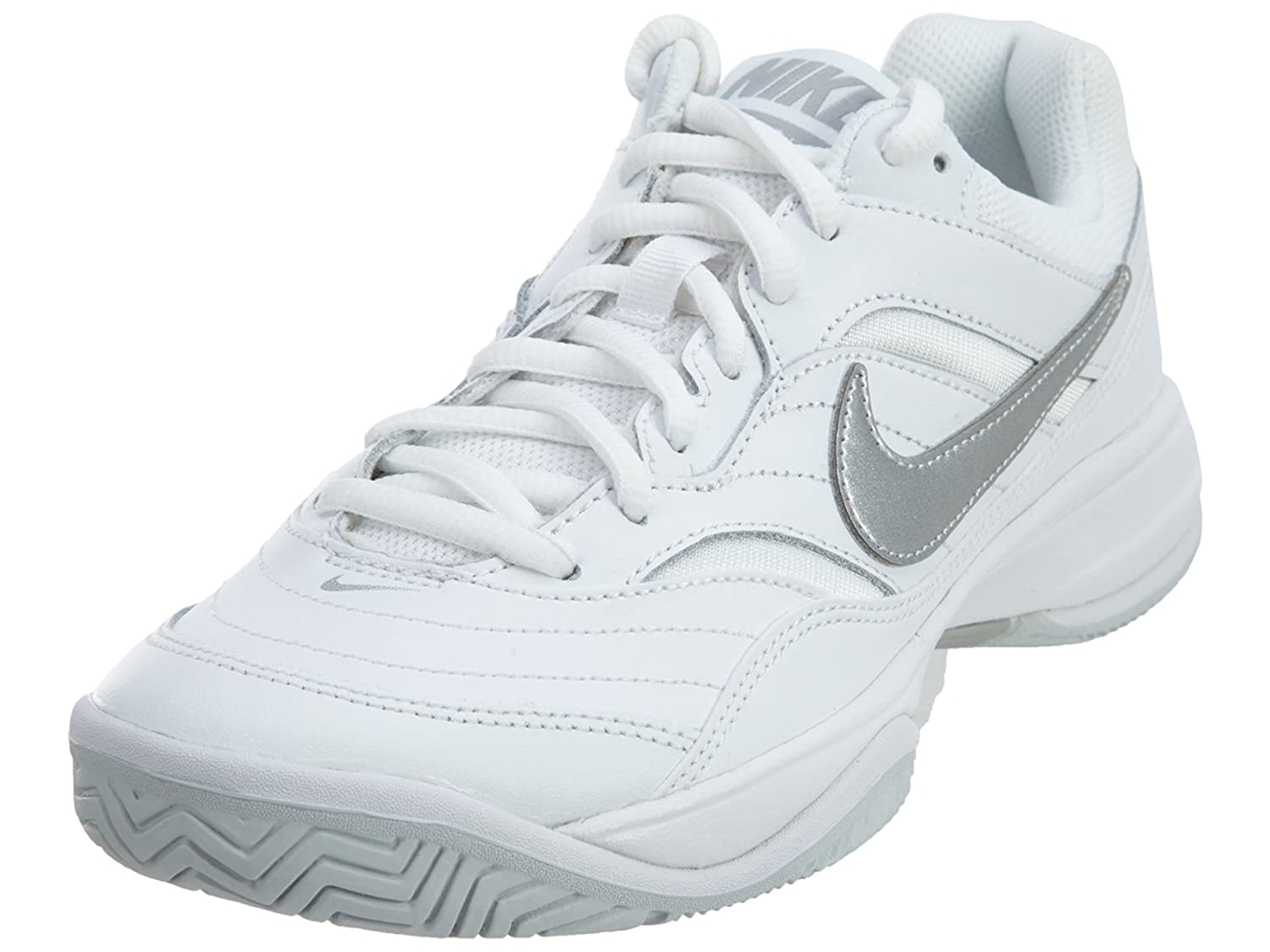 NIKE Women's Court Lite Tennis Shoe B01A67T44E 5 M US|White/Metallic Silver - Medium Grey