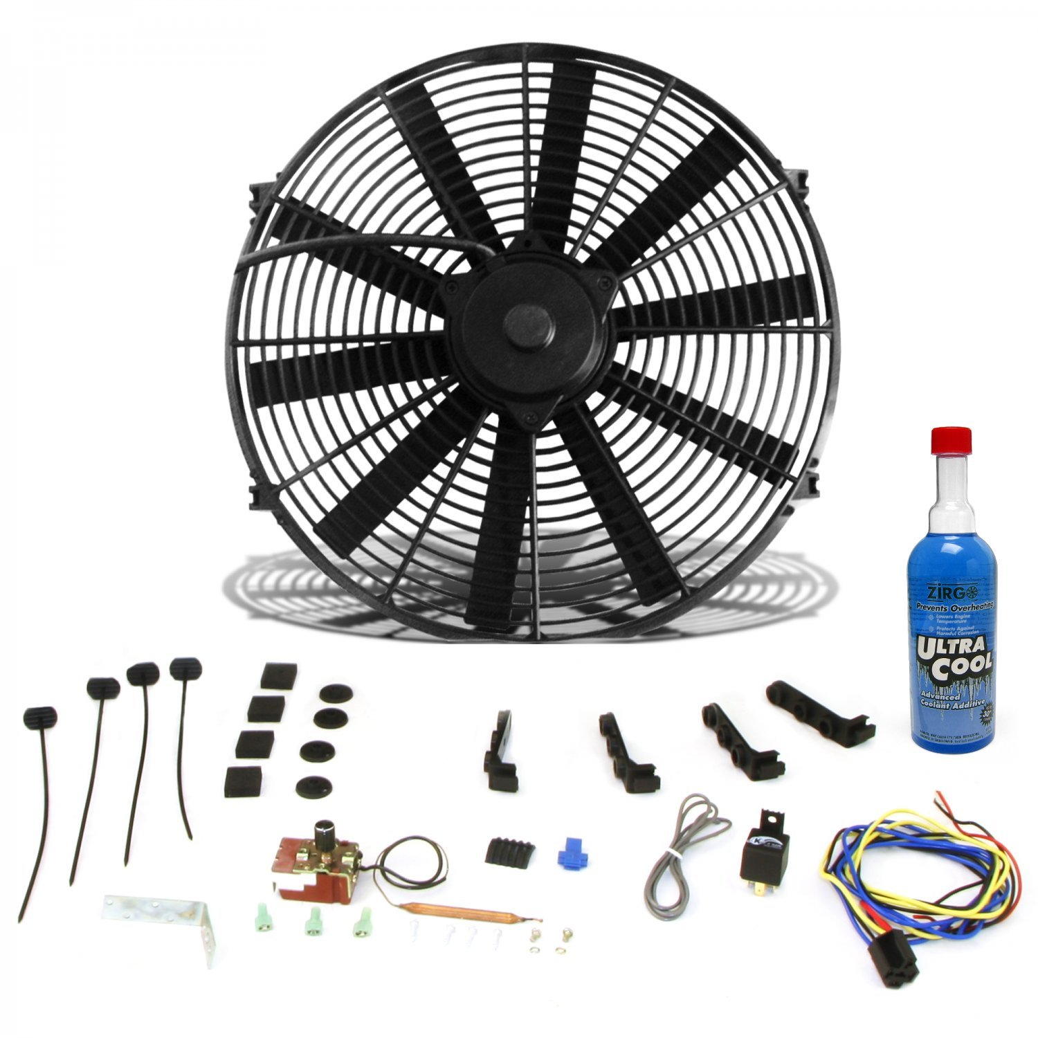 Zirgo 10304 Super Cool Pack (2803 fCFM 16'' Fan, Adj. Temp Switch, Harness, and Brackets and Additive) by Zirgo