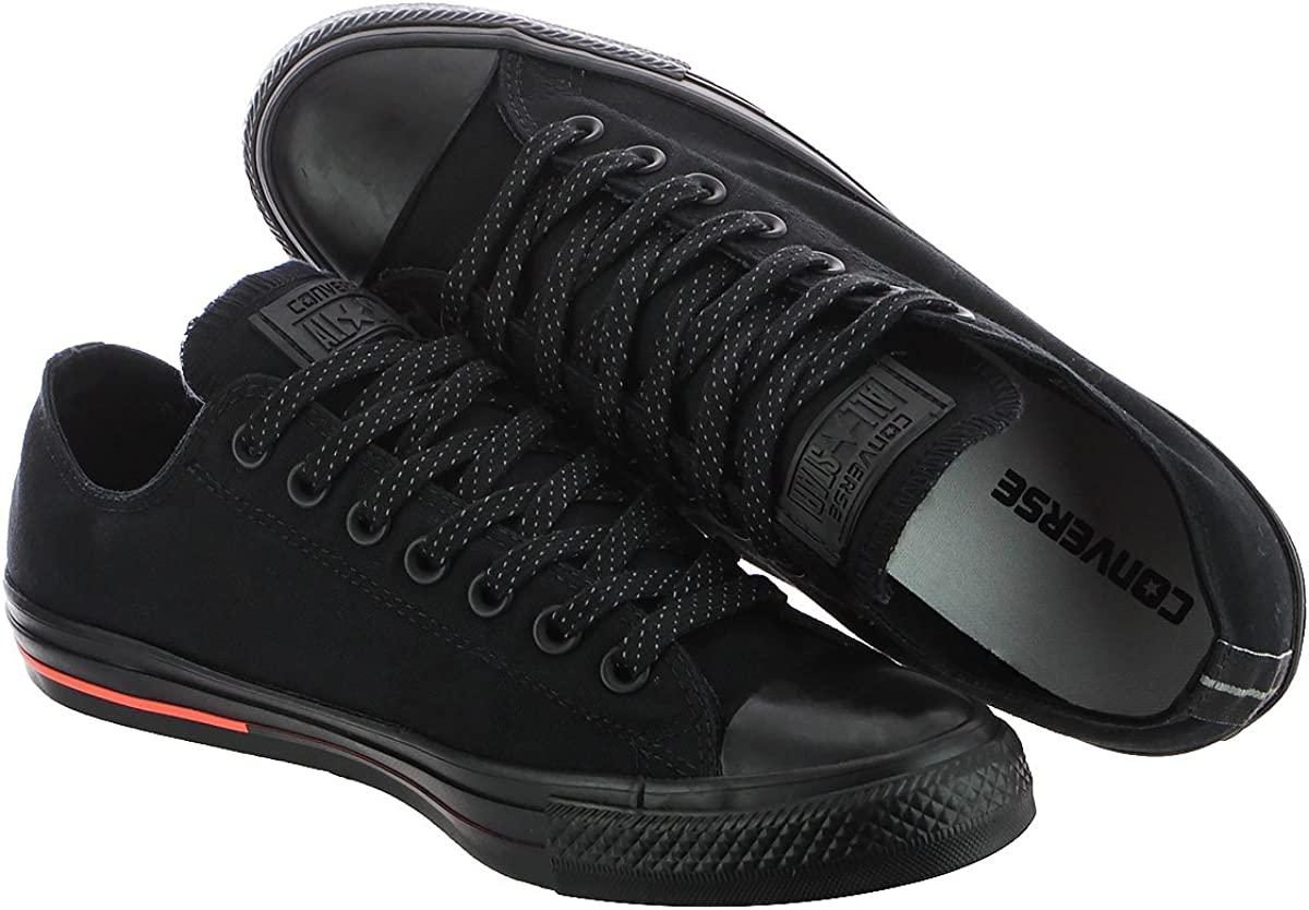 Converse Chuck Taylor All Star Adulte Mono Leather Ox, Baskets Mixte Noir - Semelle Motif Rouge