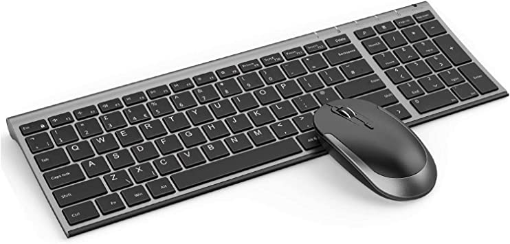 Jelly Comb Combo de teclado y ratón inalámbricos, 2.4 G, teclado inalámbrico recargable Qwerty Reino Unido y ratones con receptor USB para PC, ...