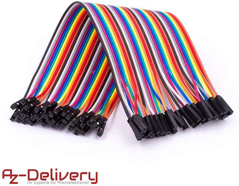 AZDelivery Jumper Wire cables de Puente 40 piezas F2F pines hembra hembra para Arduino y Raspberry Pi Breadboard con eBook incluido