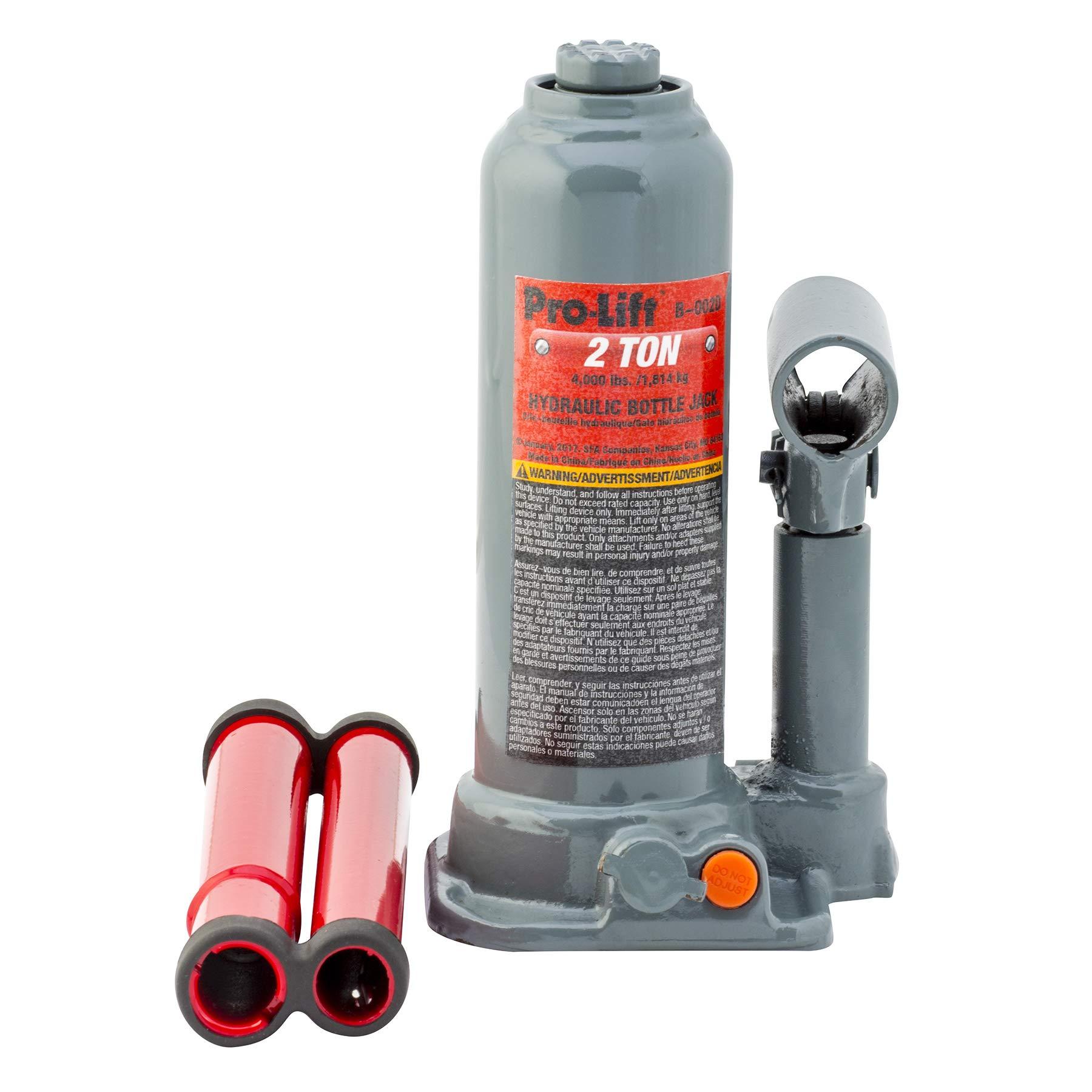 Pro-Lift B-002D Grey Hydraulic Bottle Jack - 2 Ton Capacity by Pro-LifT