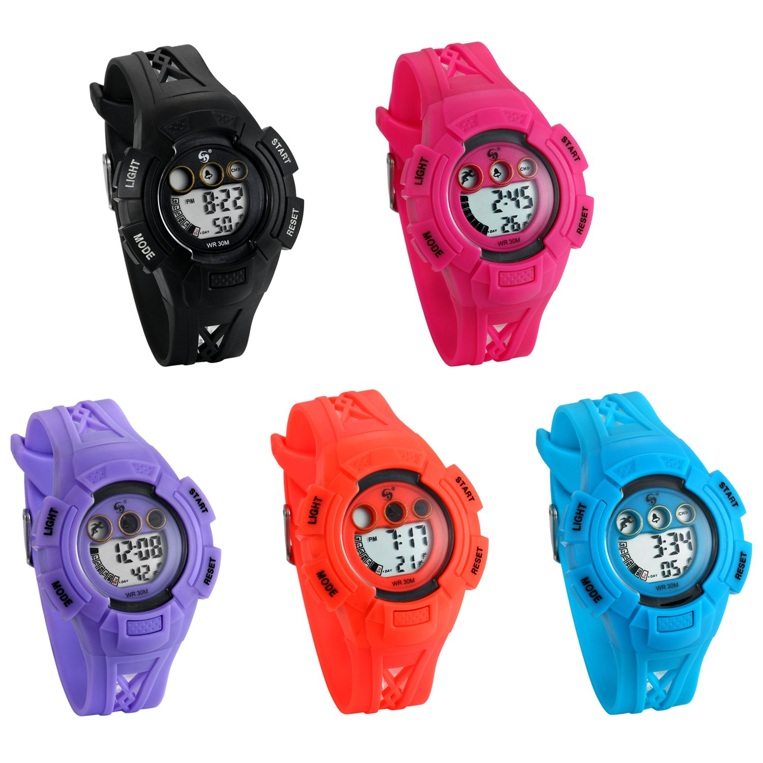 Boys and Girls Waterproof Watches Date Alarm Backlight Kids Wrist Watch with Black Braid Hollow Band