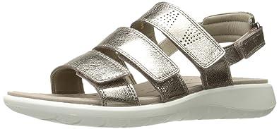 d34679975a5b ECCO Women s Women s Soft 5 3-Strap Flat Sandal Warm Grey 35 EU 4