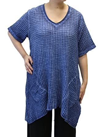 3a3de0ac12 Fenini Women s Windowpane Cotton Long Tunic at Amazon Women s ...