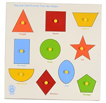 Kinder Garden Wooden 10 Shapes Puzzle (Color & Design May Vary)
