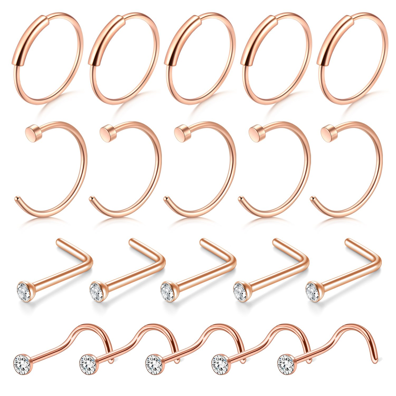 D.Bella Rose Gold Nose Ring Hoop, 20G Rose Gold Stainless Steel Nose Ring Studs for Body Piercing Jewelry 8mm