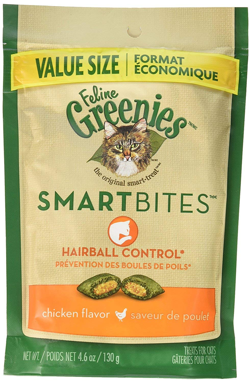 Greenies (6 Pack) Feline SMARTBITES Hairball Control, Chicken Flavor (4.6 oz Per Pack) by Greenies