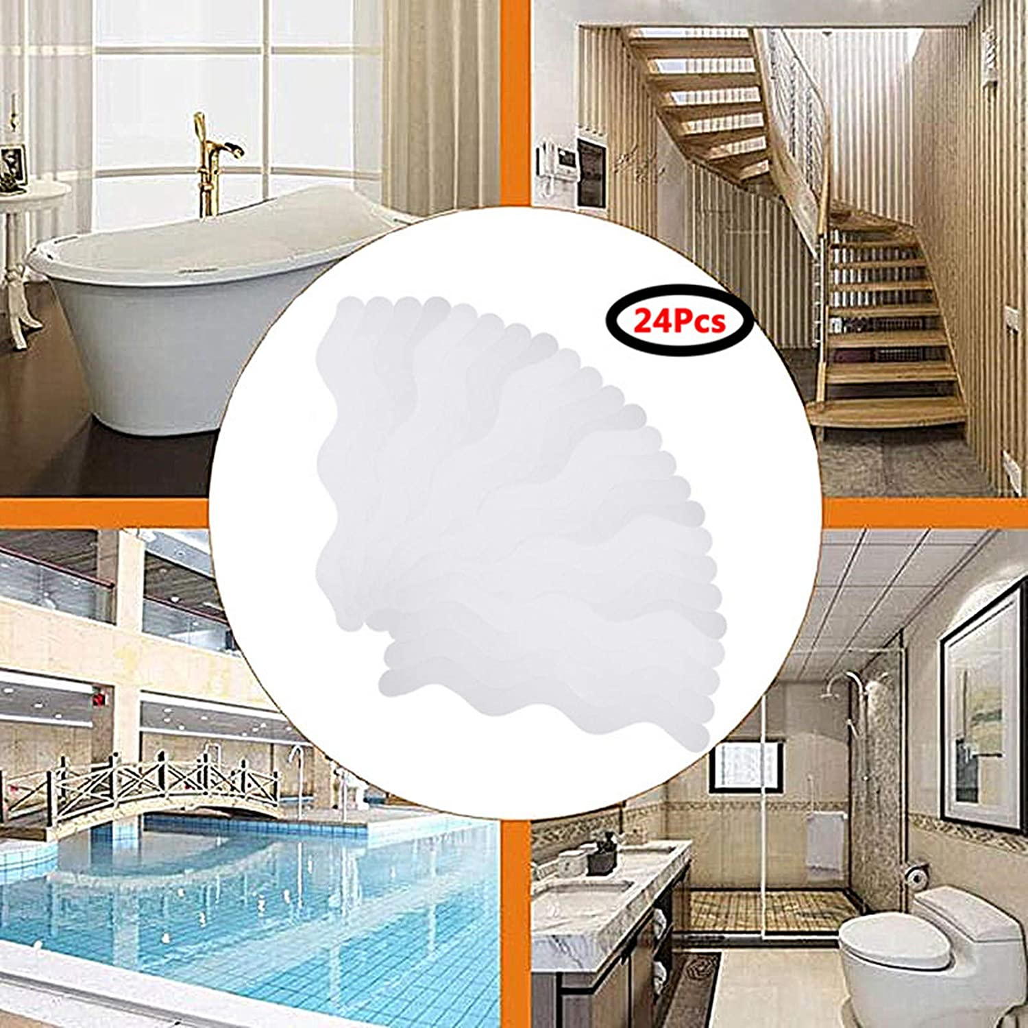 YUKAKI Bathtub Stickers Gravel Texture Transparent Bath Tub Shower Stickers with Decals Scraper for Slippery Safety Bathroom Tubs Showers Treads Room Floor Stairs 36 PCS Non-Slip Adhesive Strip