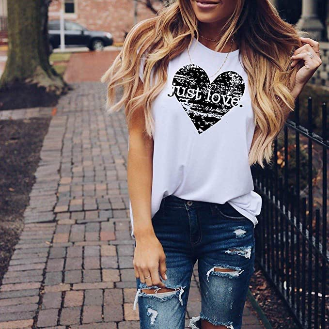 Camiseta Mujer algodón Tallas Grandes Verano Camisetas con Estampado De Corazones Top Blusa Suelta Casuales Camisa O-Cuello Moda Cami Chaleco Tops para Mujeres riou