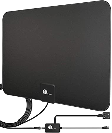 [Upgraded 2019] 1byone Digital Amplified Indoor HD TV Antenna Up to 80 Miles Range, Amplifier Signal Booster Support 4K 1080P UHF VHF Freeview HDTV ...