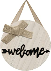 LEJHOME Welcome Sign Front Door - Wood Welcome Wreaths Sign for Rustic Farmhouse Decorations - Front Door Decor Front Porch Decorations Hanging Sign Farmhouse Sign 12 x 12 Inch