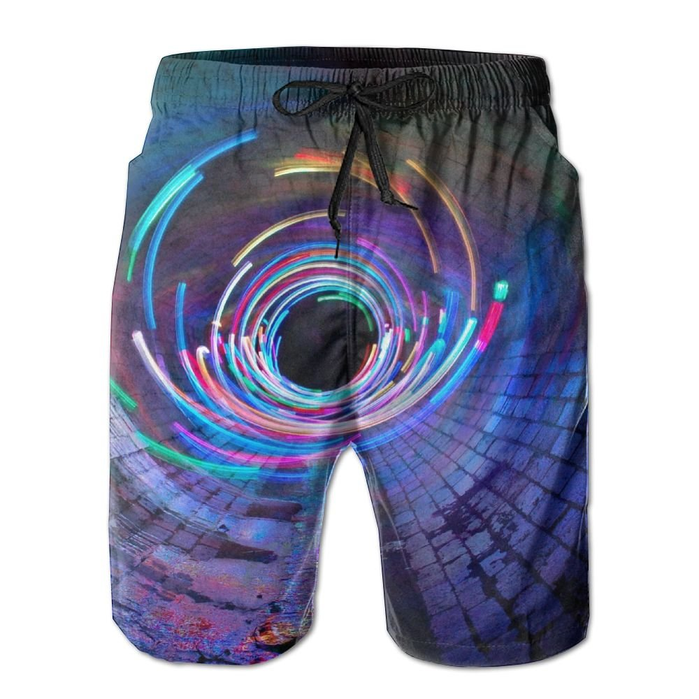 HFSST Colorful Time-Space Tunnels Mysterious Magic Fantasity Mens Swim Trunks Bathing Suit Shorts Board Beach