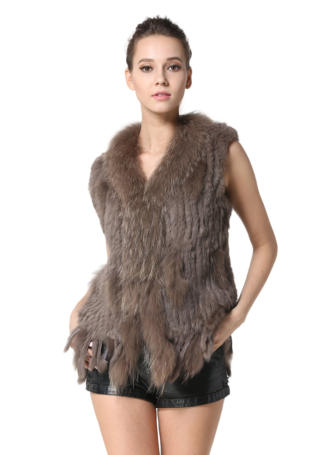 MEEFUR Rabbit Fur Vests with Raccoon Fur Collar Women's Winter Autumn Gilets Real Fur Knitted Waistcoat (US4, Khaki)