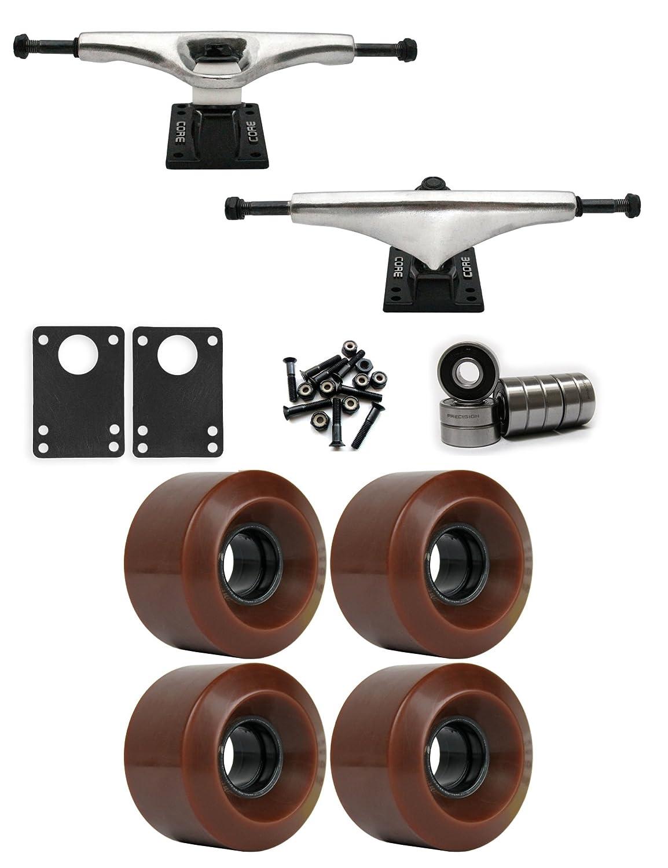 コア7.0 Longboard Trucksホイールパッケージ60 mm x 41 mm 83 a 1545 Cブラウン   B01IJ59FQM