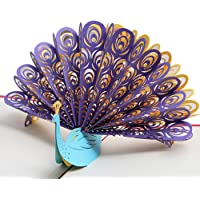 Sanwooden Greeting Card Sent to Bless Creative Peacock 3D Pop Up Paper Greeting Card Festival Birthday Christmas Gift Grateful to Have You.