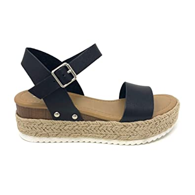 74538a93c82 SODA Womens Casual Clip Espadrilles Trim Flatform Studded Wedge Buckle  Ankle Strap Sandals,Clip-