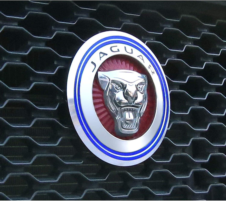 iJDMTOY Red Aluminum Surrounding Decoration Ring Trim Compatible With Jaguar F-Pace E-Pace XE XF XJ Front Grille Feline Emblem