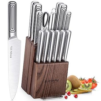 Emojoy Juegos Cuchillos Cocina,15 Piezas Steel Handle ...