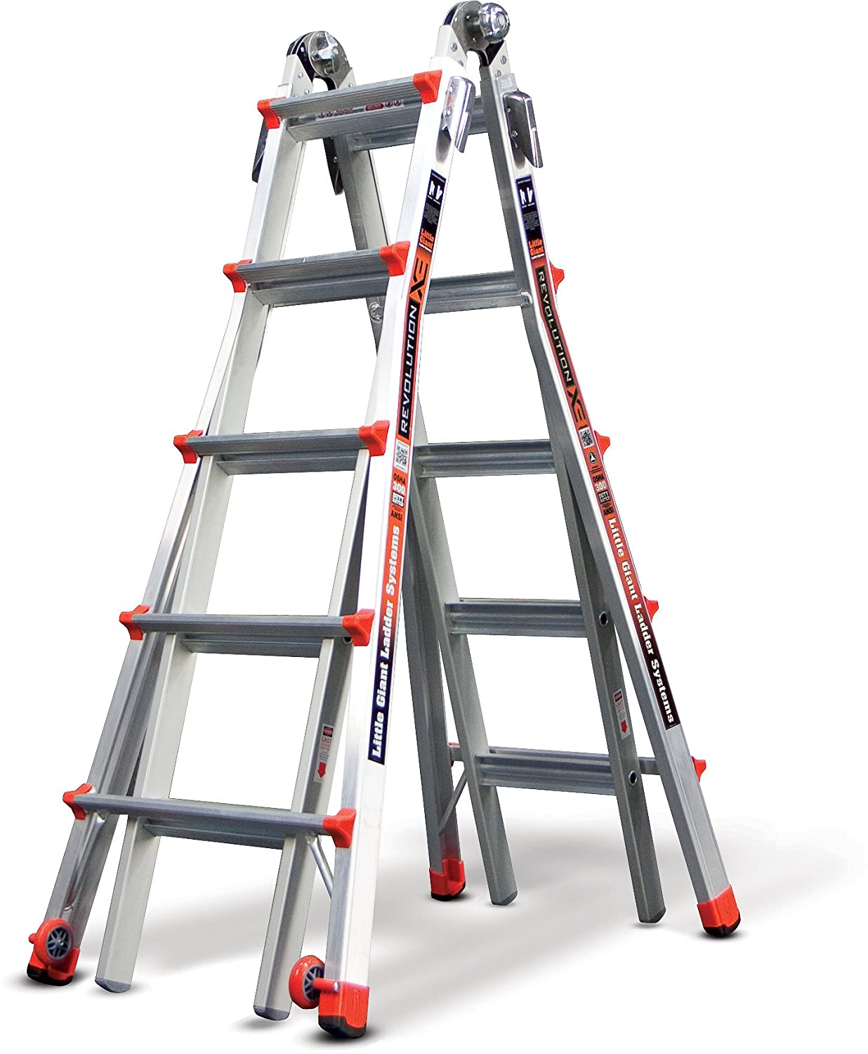 Multipurpose ladder folded into an A frame shape