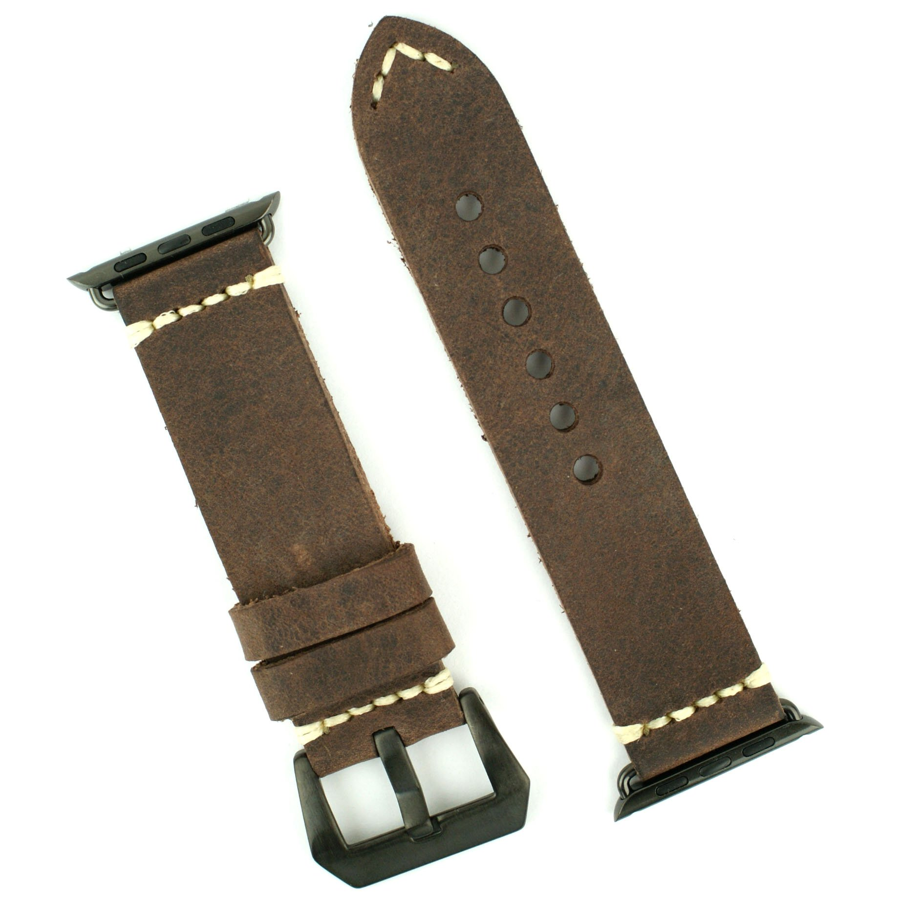 APPLE WATCH BAND Replacement band for 42mm APPLE WATCH BLACK STAINLESS STEEL Handsewn Italian Leather Vintage Strap (Dark Brown) by B and R Bands (Image #1)