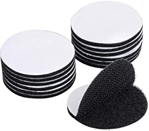 BRAVESHINE Adhesive Tape - 12PCS Industrial Strength Hook Loop Dots - Double Sided Sticky Back - Heavy Duty Rug Carpet Gripper Pad Wall Mounting Coins for Home Office Car Phone Mount - Round 1.5inch