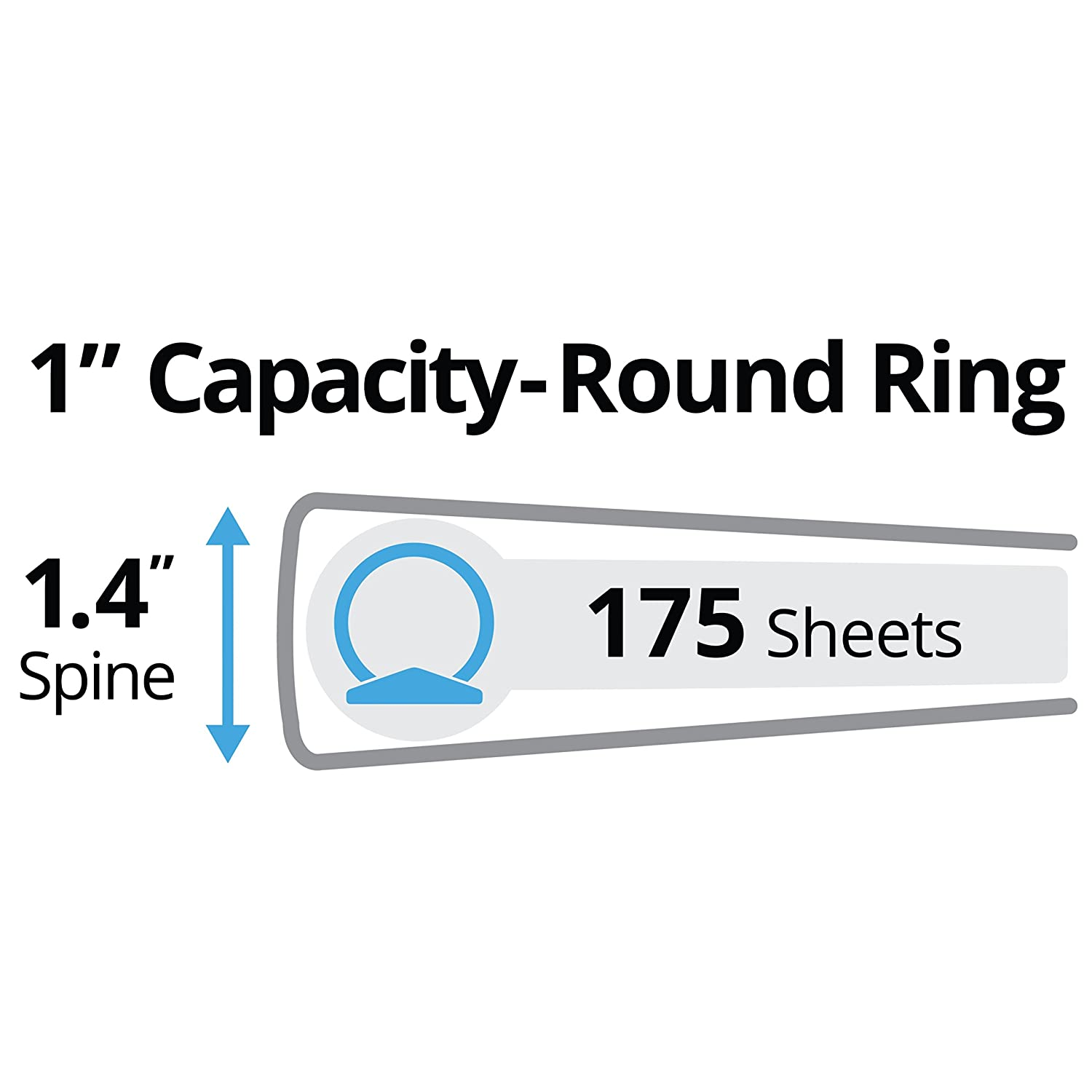 """28322 175-Sheet Capacity Amy Tangerine Designer Collection Binder Watercolor Rainbow Avery 1/"""" Round Rings"""