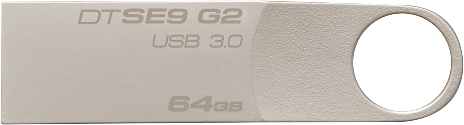 Kingston Digital 64 GB Data Traveler SE9 G2 USB 3.0 Flash Drive (DTSE9G2/64GBET), Silver
