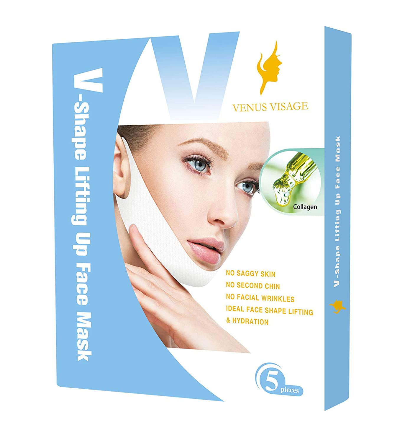 V Line Mask, Chin Up Patch, Double Chin Reducer, V-Shape Lifting Up Face Mask - Anti-Age Face Slimming Lifting Patch - V-Line Anti Wrinkle Firming Moisturizing Tape Mask - Pack of 5 Masks