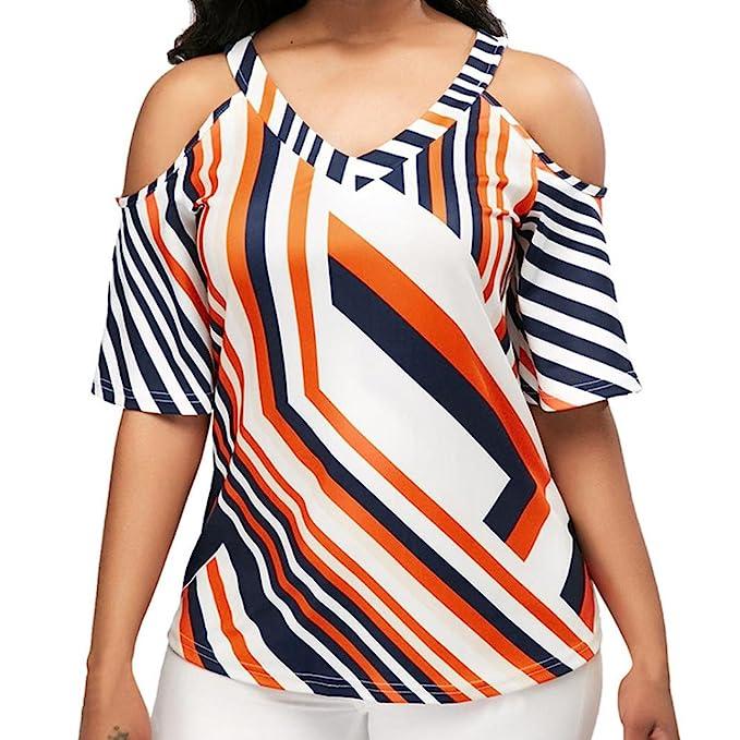 ❤ Blusa Grande Mujer, Moda Casual frío Hombro con Cuello en V geométrico Impreso Camiseta Tops: Amazon.es: Ropa y accesorios