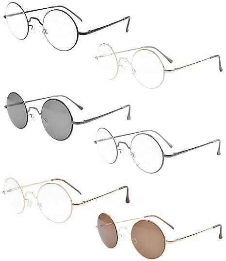 6-PZ-cerniere elastiche Eyekepper Round occhiali da sole con occhiali lente chiara 24Fjq8