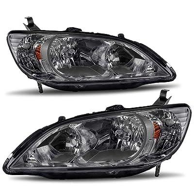 AUTOSAVER88 Headlight Assemblies Compatible with 2004 2005 Honda Civic Black Housing Amber Reflector Smoke Lens: Automotive