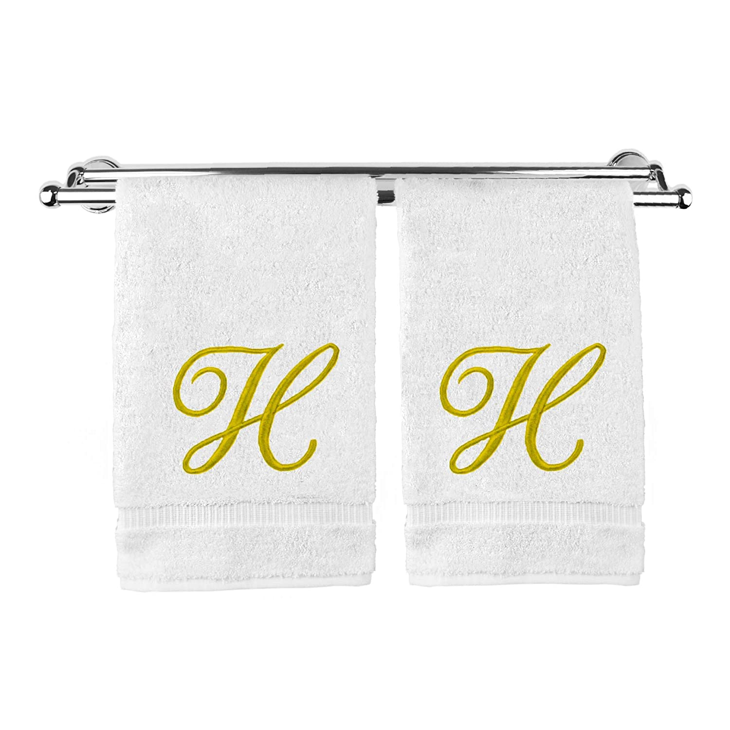 Monogrammed Hand Towel, Personalized Gift, 16 x 30 Inches - Set of 2 - Gold Embroidered Towel - Extra Absorbent 100% Turkish Cotton- Soft Terry Finish - for Bathroom, Kitchen and Spa- Script H White