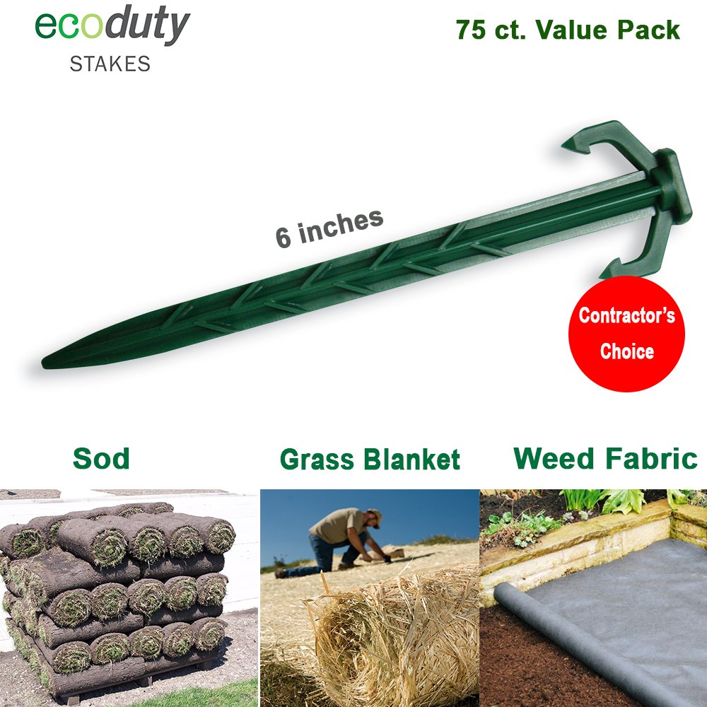 "Heavy Duty Garden Stakes - Stronger Holding Power vs Metal Landscape Stakes - Made In USA - Biodegradable Over Time (No More Rusting Metal) (75, 6"" EcoDuty Stakes)"