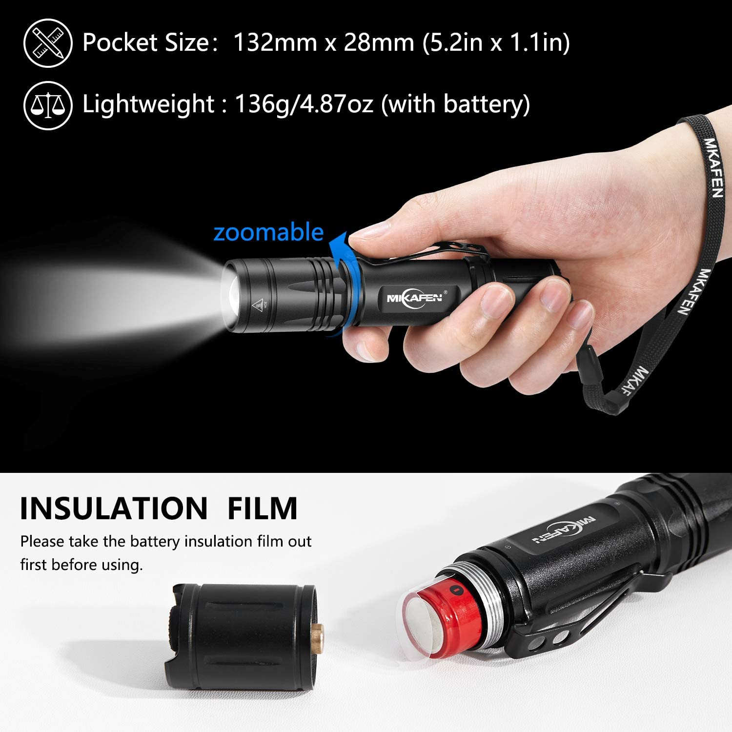 IP7 Waterproof,3 Modes,Zoomable,High Lumen Tactical Flashlight 18650 Battery Include MIKAFEN Rechargeable LED Flashlight 1200 Lumens