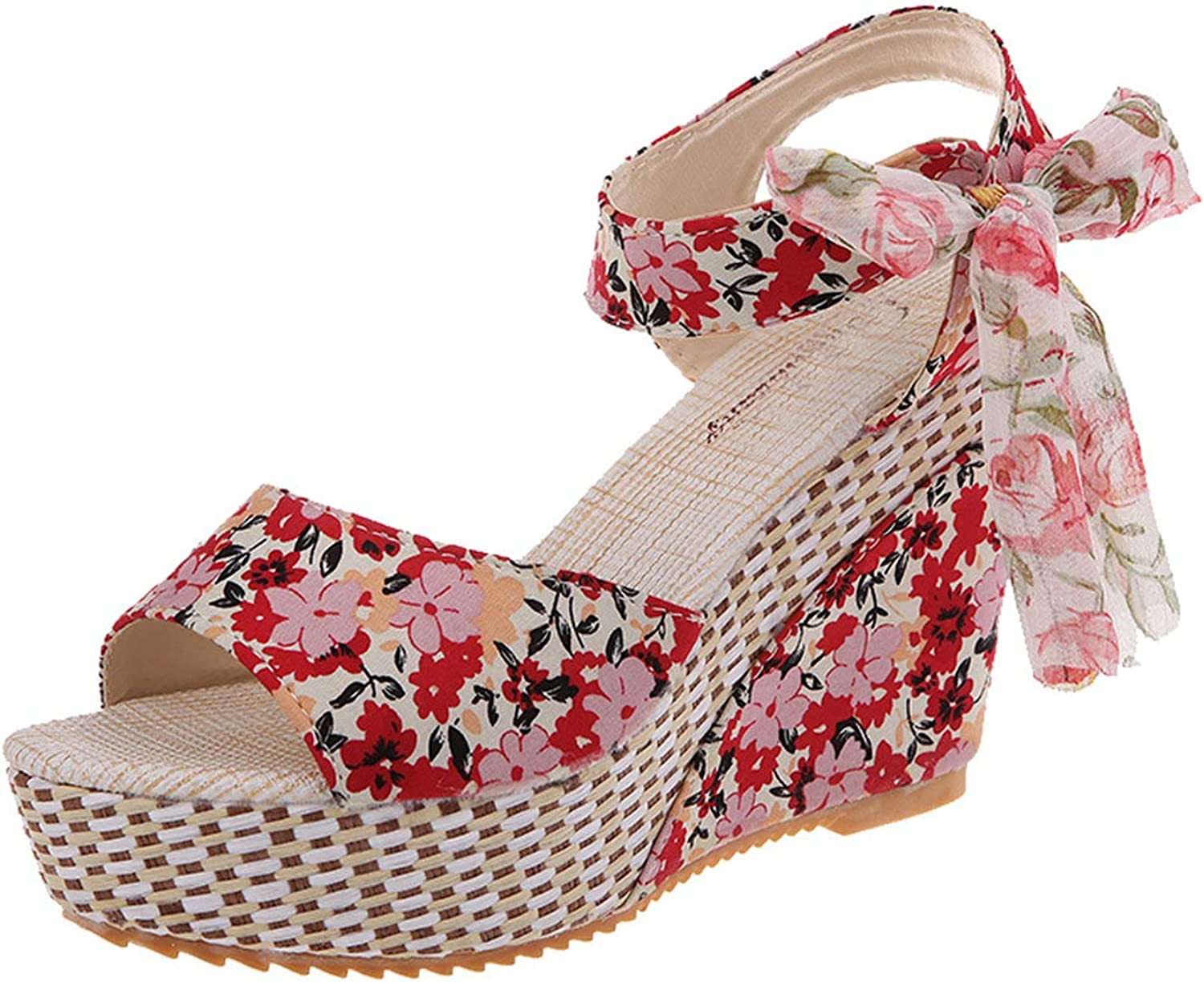 TanYQWGK Summer Shoes Woman Flower Peep Toe Wedges Lace Up Thick Bottom Flatform Shoes Sandals Zapatos Red