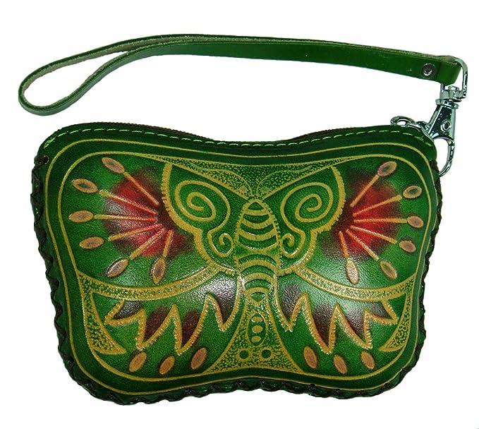 Amazon.com: Piel Auténtica Wristlet Mini portafolios ...