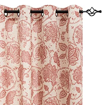 Paisley Scroll Printed Linen Curtains Grommet Top Medallion Design Jacobean Floral Curtains Burlap Vintage Kitchen Drapes Poppy Red 50 By 84