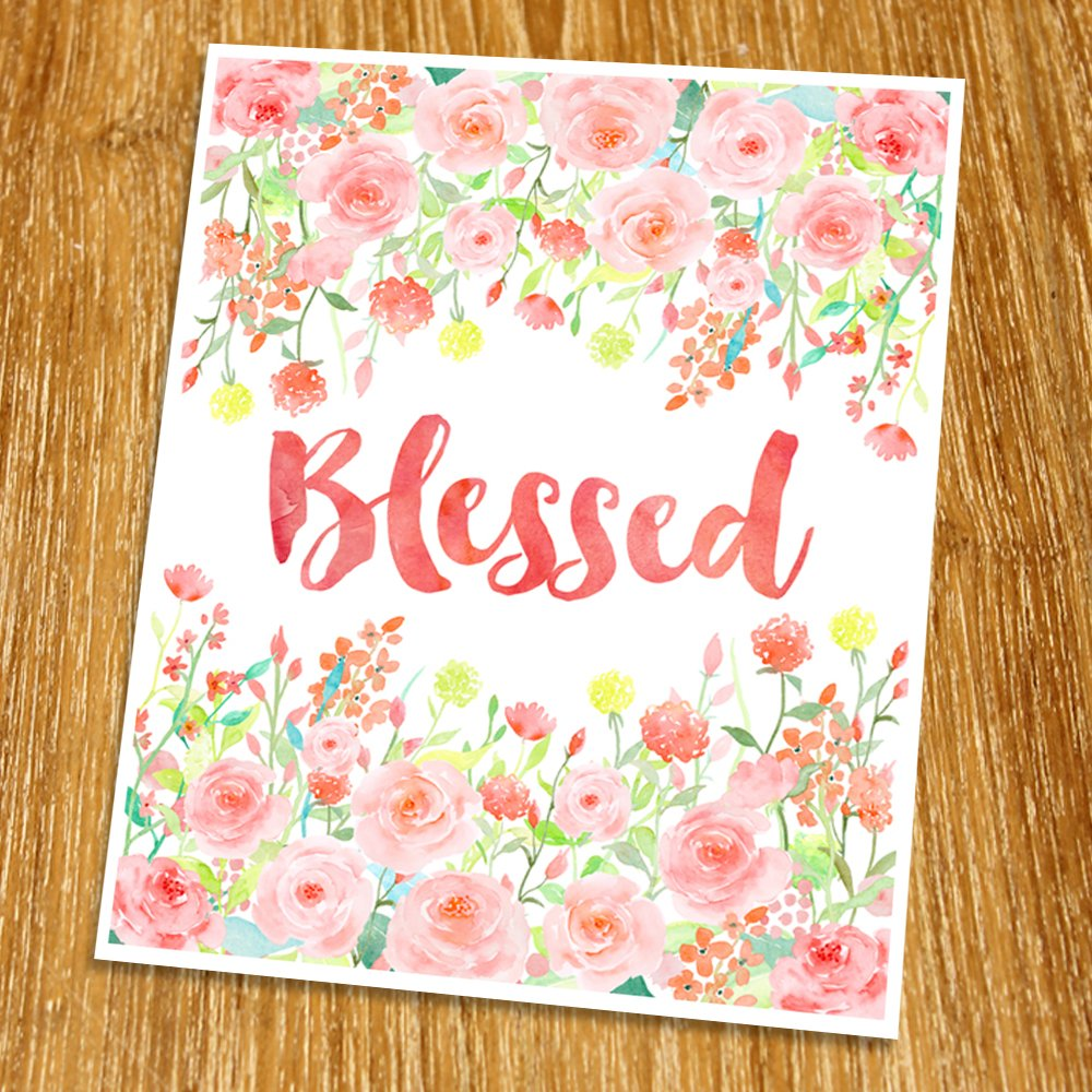 Blessed Quote Print Poster Rose Gold Wall Art