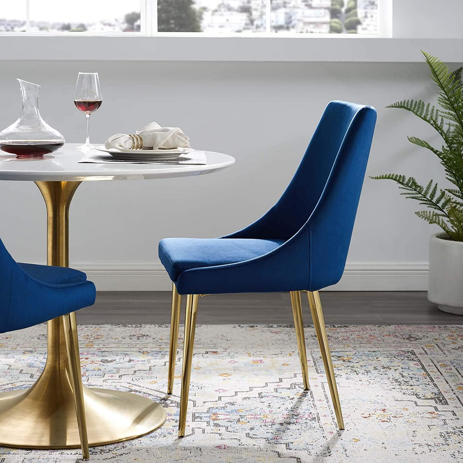 Modway Viscount Performance Velvet Dining Side Chair with Gold Stainless Steel Legs in Navy