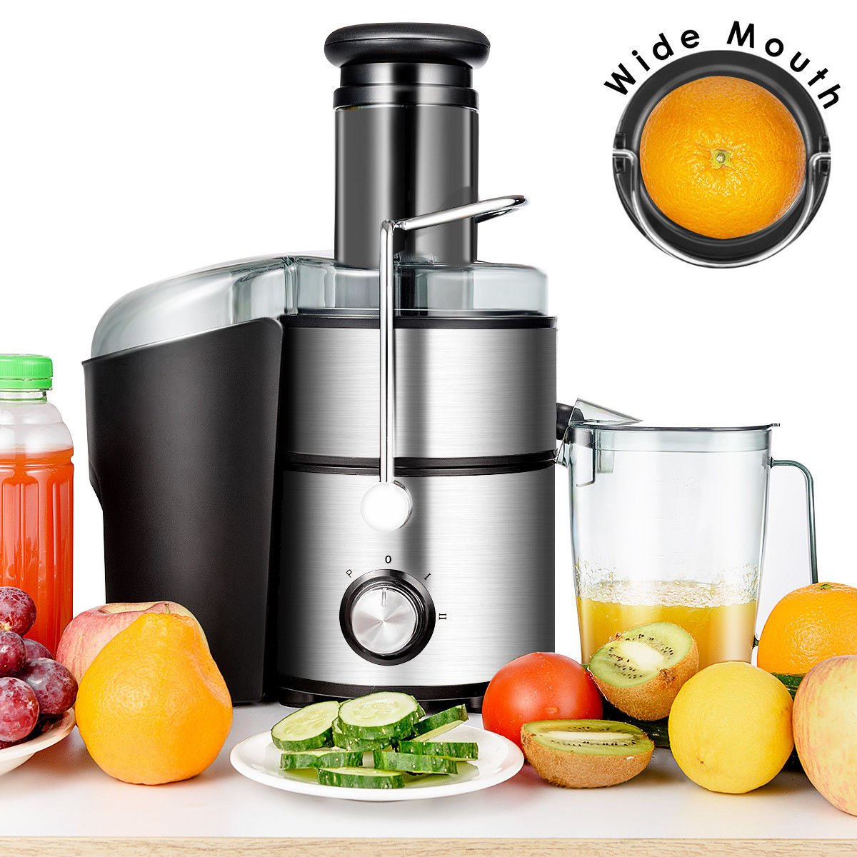 Costway 5-in-1 Juice Extractor Wide Mouth Stainless Steel Centrifugal Juicer Machines 2-Speed Masticating Juicer Machine for Fruits and Vegetable with Blender, Chopper, Grinder and Food Processor