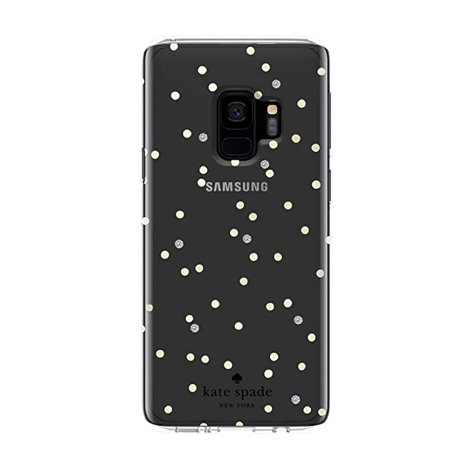 designer fashion a73a2 c305d kate spade new york Protective Hardshell Case for Samsung Galaxy S9 - Multi  Scatter Dot Gold / Clear with Stones