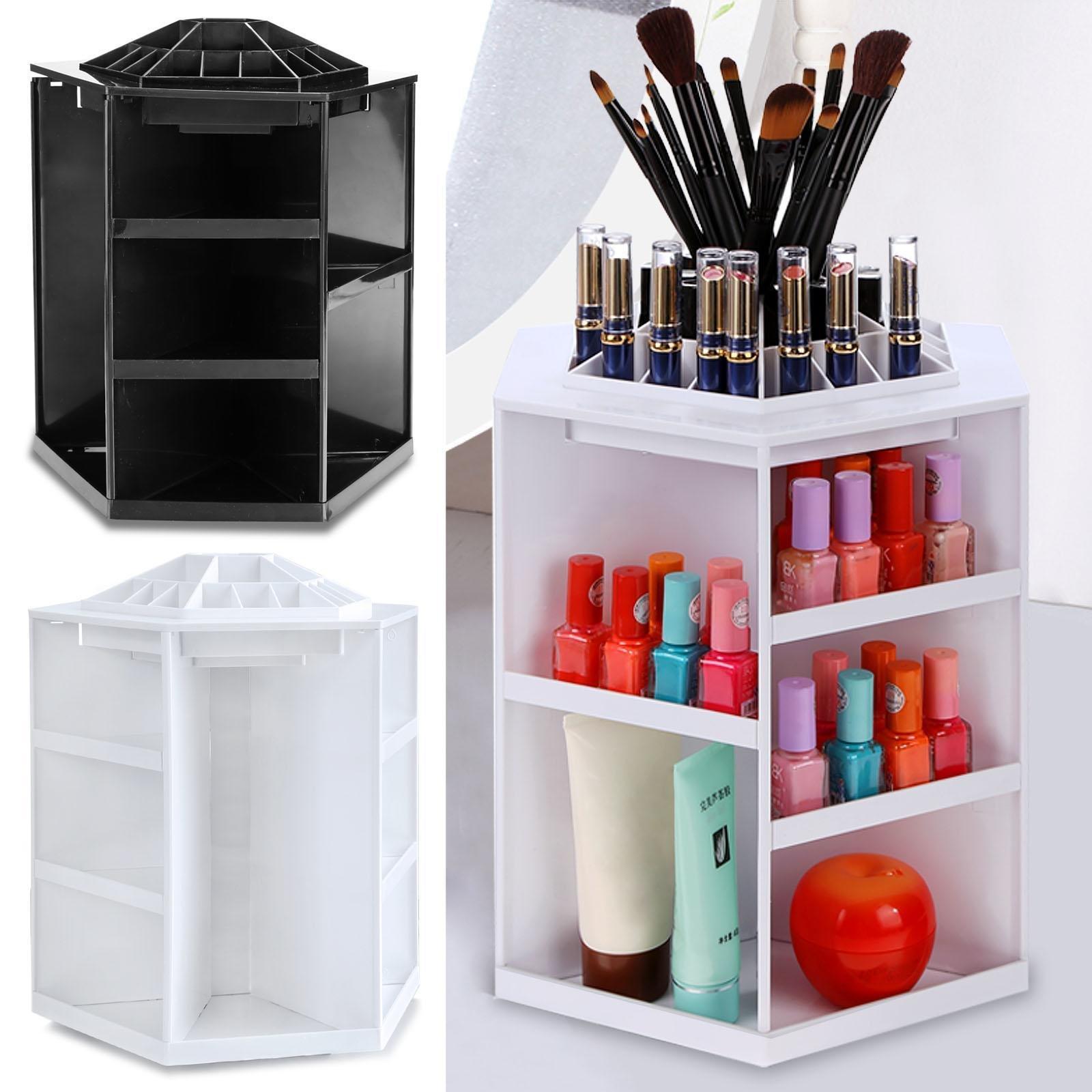 Mewalker 360 Degree Cosmetic Storage Box, Rotating Makeup Organizers Multi-Functional Makeup Cosmetic Organizer For Home Women Girl Makeup Brushes, Lipsticks, Fits Toner, Creams (US STOCK) (White)